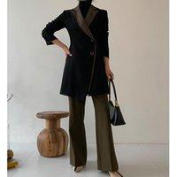 Fatos femininos blazers outono / inverno 2021 mulher casaco de lã retro design escritório senhora mid-comprimento espessado engrossado terno jaqueta