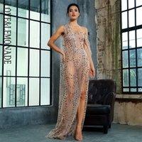 LovElemonade Gold Cruz Cut out Correias Glitter Colorido Material Longo Dress LM1361 Y200109