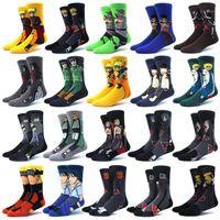 Erkek çoraplar kişiselleştirilmiş anime baskı moda komik yenilik karikatür erkekler kadın çorap konfor mutlu renkli dikiş pamuk naruto çorap1