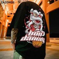 Zazomde algodón camiseta león danza impresión marea marca Hip hop manga corta camiseta estilo chino hombre verano calle moda casual top lj200827