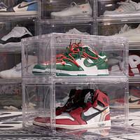 Addensare chiari pallacanestro di pallacanestro di plastica antipolvere antipolvere shoe shoot box flip trasparente sneaker box impilabile boot organizer showcase