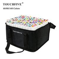 TouchFive 60/80/168 Renkler Set Manga Çizim İşaretleyiciler Alkol Tabanlı Kroki Keçeli-İpucu Yağlı İkiz Fırça Kalem Sanat Malzemeleri 201225
