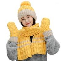 Kadınlar Kış 3 adet Ponpon Bere Şapka Uzun Eşarp Eldiven Seti Kontrast Renk Tıknaz Örgü Peluş Çizgili Kafatası Kap Boyun Isıtıcı1