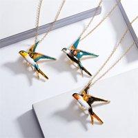 Tricolor Swallow Catena ANIMALE Spilla a doppio scopo collana di moda gioielli gioielli personalità collane in lega di pittura ad olio accessori 4 09YH O2