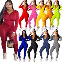 Donne Tracksuit Desinger Desinger rosa 2 pezzi Set Set a maniche lunghe Abiti Zipper Cardigan Plus Size Sportswear Joggers Street Vestiti S-3XL 2020