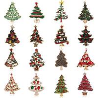 24 스타일 빈티지 여러 가지 빛깔의 크리스탈 크리스마스 트리 브로치 여성 라인 스톤 브로치 칼라 핀 패션