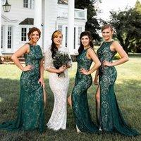 Vestidos de dama de honor verde africano verde Emerald Vestidos de dama de honor sexy alto sirve de sirena de sirena vestidos vestidos de baile largo formal V51