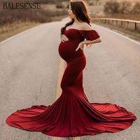 فساتين الأمومة للصور اطلاق النار النساء الحوامل مثير الكتف حورية البحر الملابس الحمل اللباس استحمام الطفل التصوير الدعائم LJ201114