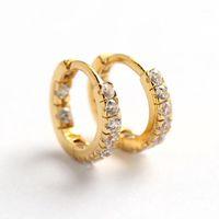 VRAI 925 Boucles d'oreilles Huggie Huggie Huggie pour femmes Pave Zircon CZ Diamond pierre Hoops Fine Bijoux Minimalisme Accessoires1