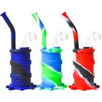 8.0 인치 실리콘 드럼 워터 파이프 4mm 석영 벤터와 유리 다운 시스템 유리 물 파이프 실리콘 봉 8 색 무료 배송