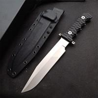 Überleben von Outdoor-Survival taktisches gerades Messer DC53 Satin-Klinge Full Tang Black G10-Griff Feste Klingenmesser mit Kydex