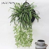 Jaro simulación clorofito hierba planta artificial flores flores planta decoración de pared oficina oficina colgando cesta de ratán decoración