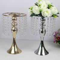 Nefis Çiçek Vazo Büküm Şekli Altın / Gümüş Düğün / Masa Centrepiece 52 CM Tall Yol Kurşun Ev Dekorasyonu Standı