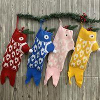 Sirena de punto Gafas de medias de Navidad Bolsa de caramelo Árbol de Navidad Decoración Chimenea Ventana Colgante Festival Ornamentos LX3837