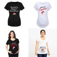 Mode Maternité Robe Moyenne Longueur Bumps Baby Lettre Impression Courte Manches Enceinte Femme Vêtements Chapeau de Noël 15JK K2