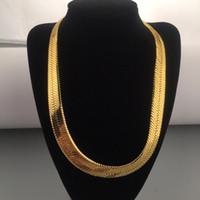 """10mm Geniş Yılan Kemik Zinciri Sarı Altın Dolu Erkekler Bildirimi Herringbone Kolye 60 cm (23.6 """")"""