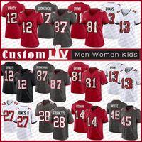 12 Tom Brady TampaBaía Personalizado Homens Mulheres Kids Football Jersey 87 Rob Gronkowski 81 Antonio Brown 13 Mike Evans Chris GodwinBuccaneer
