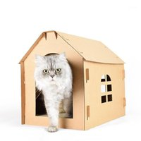 Mobiliário caixa caixa ferramentas interior diy scratch board auto montagem gatinho gatinho casa papel ondulado tem pequena janela suprimentos1