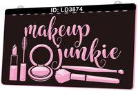 LD3874 Makeup Junkie 3D Engraving LED Light Sign Wholesale Retail