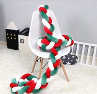 크리스마스 아기 유아용 침대 놀이 장식 유아 매듭 공 볼스터 소파 베개 키즈 땋은 긴 머리 띠 장식 신생아 보안 울타리