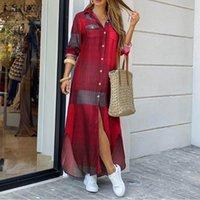 Mode Femmes Maxi Chemise Robe 2020 Zanzea Automne Vintage Mesdames à manches longues Vestidos Casual Plaid Robe Longue Plus taille 5XL