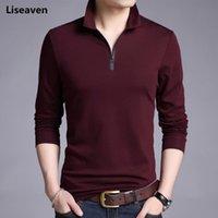 Homens camisetas Homens Liseaven Cor Sólida Slim Fit Camisa de Manga Longa Tshirt Casual Camisas Traduzidas