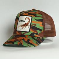 Custom 5 pannello animale ribaltamento di ribaltamento verde stampa alacran scorpion animale ricamato maglia camionista cappello per entrambi i cappello da donna cappello da donna