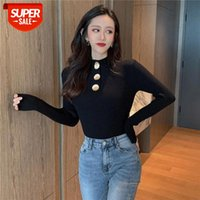 Novo 2021 Mulheres de Inverno Senhoras Manga Longa Grande Metal Botão Turtleneck Slim Malha Sweet Sweater Top Femme Pull Camisas Jumper # N49m