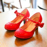 Bekamille 가죽 가을 나비 넥타이 2020 새로운 아이들의 신발 하이힐 공주 달콤한 샌들 여자 SZ107를 들어