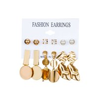 European and American new suit earrings cold wind geometric ...