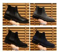 2020 Süet deri Erkekler Yüksek üst ayakkabı lüks tasarımcı elbise yarım bot spor ayakkabı Hombre 38-44 Kayma arttı