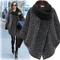 Большой размер женщин в шерстяное пальто 2020 осень зима шерстяное пальто Вязаная водолазка Толстые Кашемир плащ Женский пиджак плюс размер 5XL