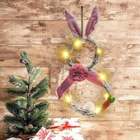 Easter Bunny Wreath LED Light Rattan Wreath Garland Craft Decor Home Door Grand Tree Wedding Gift Party Ornament Easter Decoration DDC5639