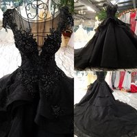 Nupcial balón vestido de boda gótica Corte Vestidos Negro Nueva llegada de lujo para no Mier Blanco Vintage Vestidos Pricness tren largo con cuentas Q1113