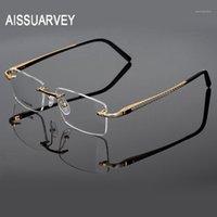 Männer Brille Frames Titanium Randlose Marke Designer Brillen Verschreibungspflichtige Top Qualität Eyewear Goldene Business Eye Brille Men1