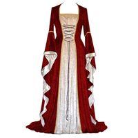 Mittelalterliches Kostüm Gold Samt Trompete Hülse Retro Weibliche Halloween Kostüm Cosplay Court Noble Robe Princess Kleid
