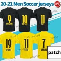 Dortm Haaland Reus Brandt Soccer Jerseys 20 21 Camicia da calcio da uomo Casa giallo Away Black Camicia da calcio personalizzata