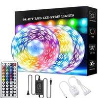플래시 헤드 RGB LED 스트립 조명 98.4 82.02 65.6 49.2 32.8 FT SMD 색상 변경 유연한 테이프 조명 키트 44 키 원격 컨트롤러