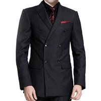 Black Pinstripe Cloth Wedding Groomsmen Tuxedos for Groom We...