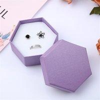 Caja pura caja de joyería superior Tapa inferior Colgante Ear Anillo de uñas Caja de embalaje Seis lados Cajas de regalo 1 6mf