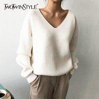 Twotwinstyle tejido suéter de otoño coreano para mujeres con cuello en V manga larga dobladillo irregular hembra suéteres de gran tamaño nuevo y200720