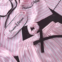 Jrmissli Donne 7 pezzi Pigiama rosa Set Set Satin Seta Sexy Lingerie Home Wear Sleepwear Pigiama Set Pijama Woman Y200425
