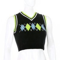YICIYA Sleeveless Plaid Knitted Tank Top Female Streetwear Preppy Style Clothes Stripe VNeck Cropped Knitwear 90s Sweater Vest