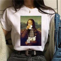 MONA LISA MASK Aesthetic Harajuku T Camiseta Mulheres Engraçado Dos Desenhos Animados 90s Cópia Bonito Tshirt Moda Streetwear Top Tees Feminino