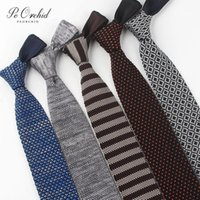PEORCHID 6cm New Mens Knit Tie Striped Corbata Classic Woven Designer Neckwear Gravata Colourful Narrow Knitted Neckties1