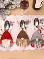 Sueca gnomo de Santa Bolsa Vajilla Tenedor cuchillo cubiertos de plata Holder fiesta de Navidad Bolsa mesa de la cena decoración JK2011XB