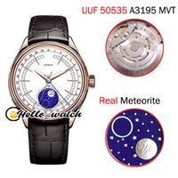 New Cellini Moon Phase 50535 CAL A3195 Automatic Mens Watch Rose Gold Caes Caes White White White Leather Leather (وظيفة صحيحة) ساعات Hello_Watch