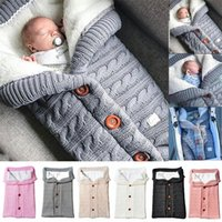 Cobertor de bebê quente malha recém-nascido Swaddle envoltório infantil saco de dormir algodão envelope de algodão para acessórios de carrinho de carrinho swaddling y201001