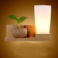 Lámpara de pared estilo chino de la luz de madera para la lectura del lado de la cama del dormitorio 30 * 28 cm de madera de la base de madera de la lámpara de vidrio del balcón del pasillo de la iluminación LED
