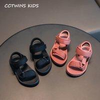 CCTWINS NIÑOS ZAPATOS 2020 VERANO BEBY Girls Marca Sandalias de playa Sandalias para niños pequeños Casual Soft Soft Flat Lienzo Zapatos Negro C1002